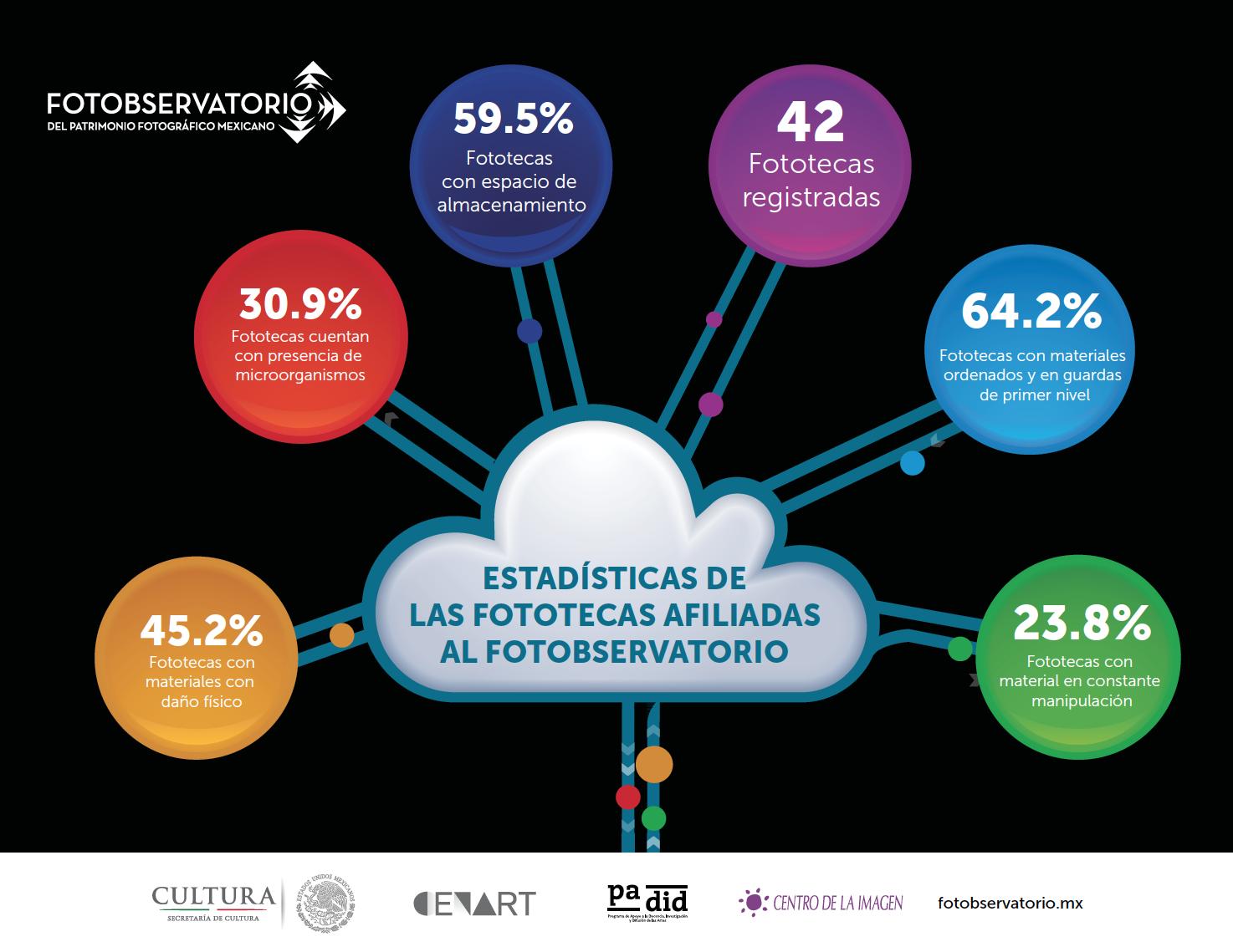 Infografía sobre Estadísticas de las Fototecas afiliadas